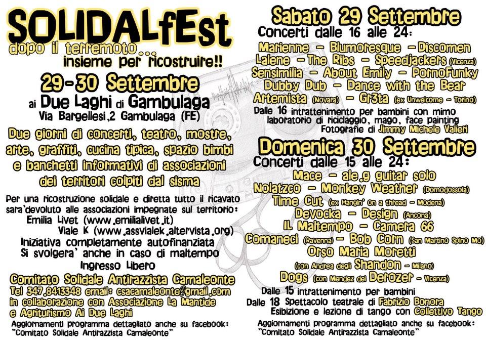 EVENTO BENEFICO: 29 E 30 SETTEMBRE SOLIDALFEST A GAMBULAGA (FE)